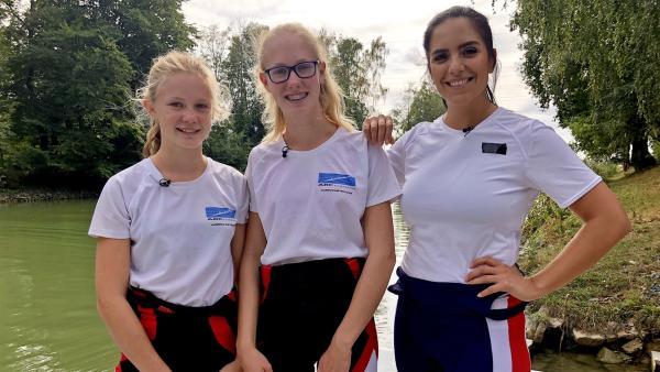 Jess trifft in Münster Tjorven und Bentja. Die beiden sind Mitglieder im Rennruderbootverein. | Rechte: KiKA