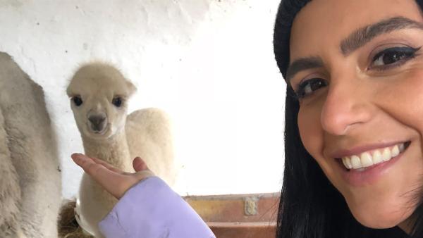 Jess mit einem Alpakafohlen   Rechte: KiKA/Cori Hinze