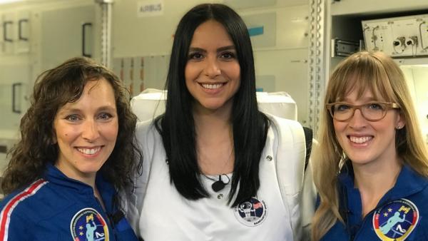 Jess trifft die Astrophysikerin Suzanna Randall (li.) und die Meteorologin Insa Thiele-Eich (re.). | Rechte: KiKA/Rozhyar Zolfaghari