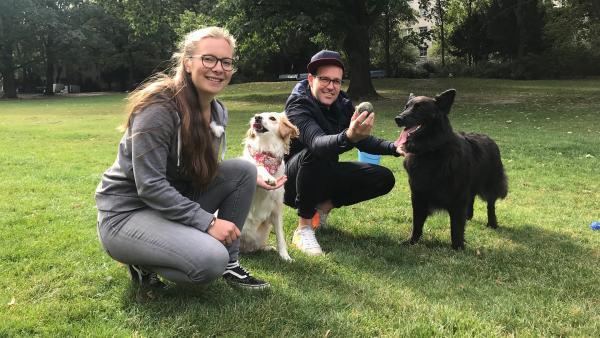 Ben und sein Familienhund Otto treffen Frederike und ihre rumänische Straßenhündin Nala, die über 100 Tricks kann und schon ein gefeierter Fernsehstar ist. | Rechte: KiKA/Sabine Krätzschmar
