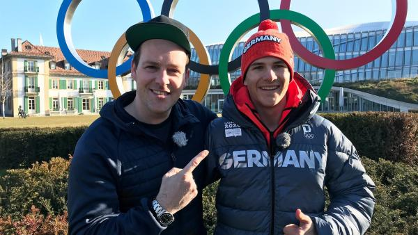 Ben mit Skicrosser Sebastian Veit | Rechte: KiKA/Rozhyar Zolfaghari