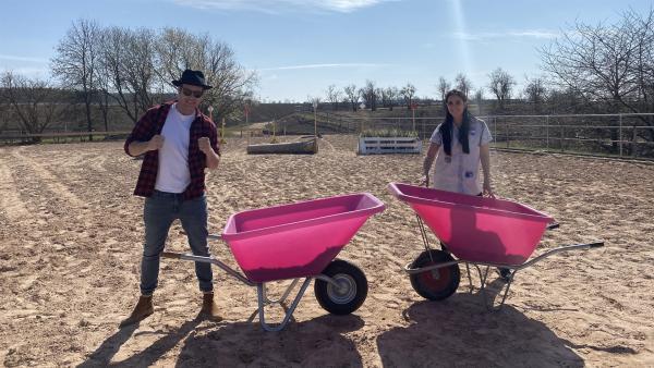 Jess und Ben treffen sich zum Battle auf einem Pferdehof. | Rechte: KiKA/Andrea Thoben