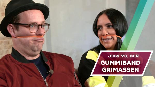 Jess vs. Ben - Gummiband-Grimassen | Rechte: KiKA