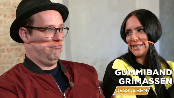 Jess vs. Ben - Gummiband-Grimassen | Rechte: KiKA
