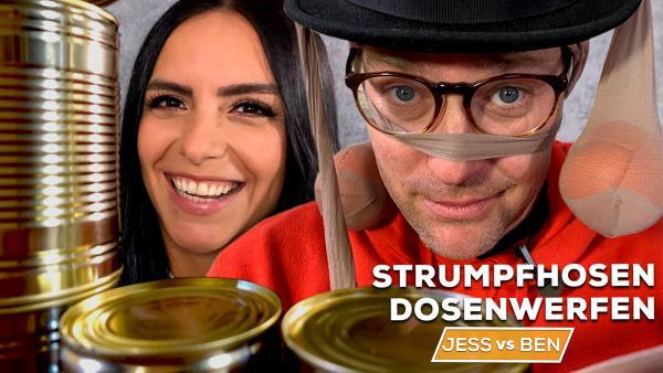 Jess vs. Ben - Strumpfhosen-Dosenwerfen | Rechte: KiKA / Torben Hagenau