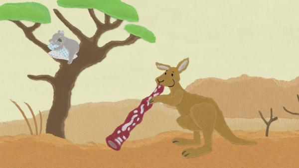 Ein Känguru spielt Didgeridoo | Rechte: KiKA