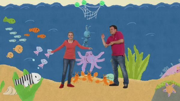 Kikaninchen, Anni, Christian und der Tintenfisch | Rechte: KiKA