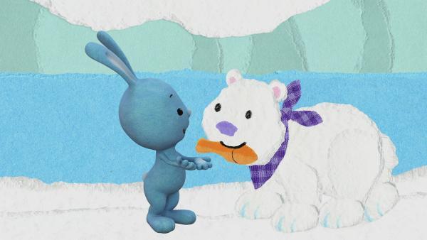 Kikaninchen trifft ein Eisbärenkind | Rechte: KiKA