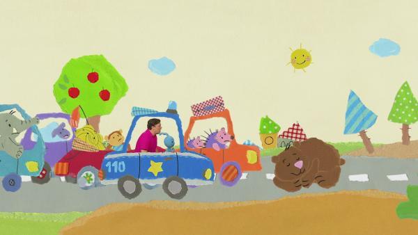 Kikaninchen und Christian regeln den Verkehr | Rechte: KiKA
