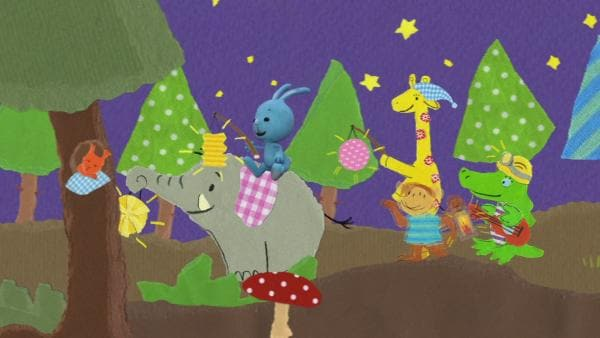 Das Glühwürmchen fliegt in Kikaninchens Laterne | Rechte: KIKA