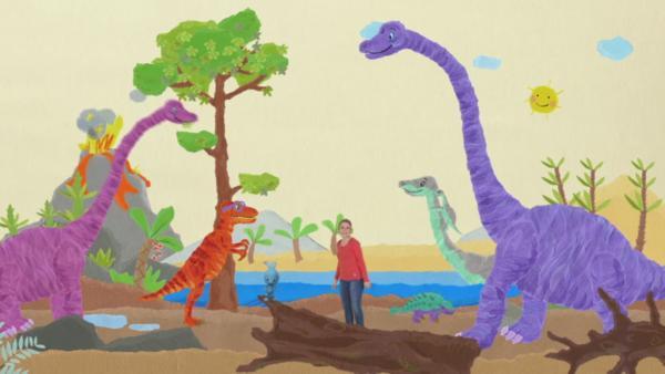 Anni und Kikaninchen helfen dem T-Rex | Rechte: KiKA
