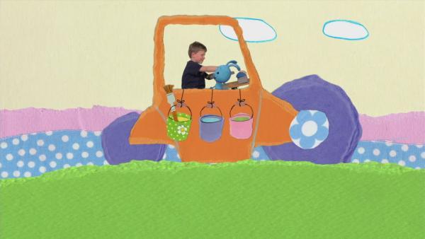 Die Straßenwalze macht's schön bunt | Rechte: KiKA