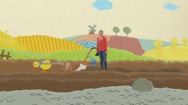Eine Ente pflügt das Feld | Rechte: KiKA