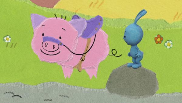 Kikaninchen reitet auf einem Schwein | Rechte: KiKA