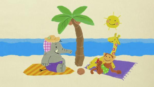 Der Elefant gibt der Palme Wasser | Rechte: KiKA