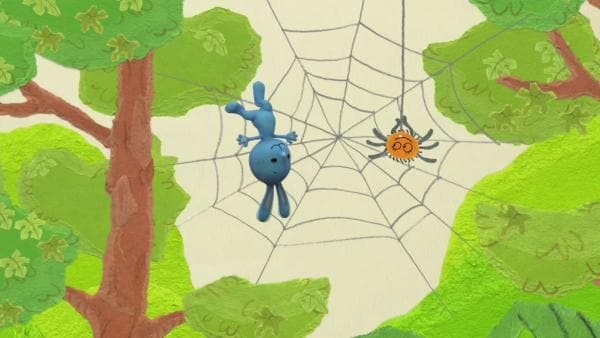 Kikaninchen fällt in ein Spinnennetz | Rechte: KiKA