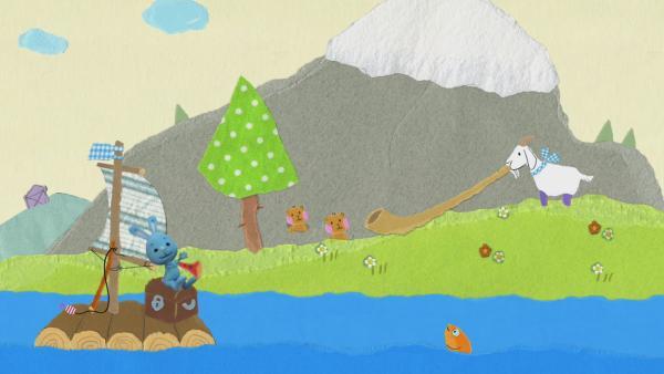 Eine Ziege spielt Alphorn | Rechte: KiKA