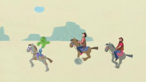 Kikaninchen reitet auf einem Pferd | Rechte: KiKA