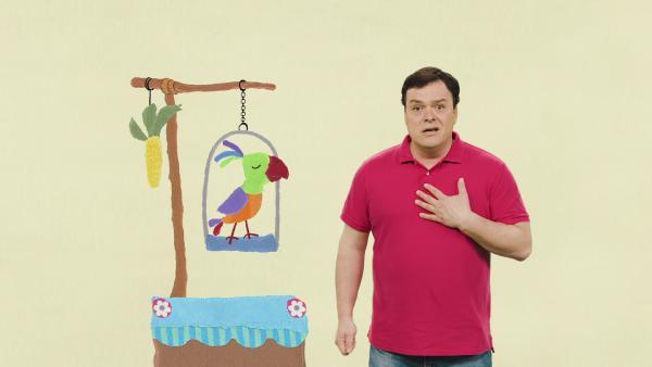 Christian und Egon, sein Papagei | Rechte: KiKA