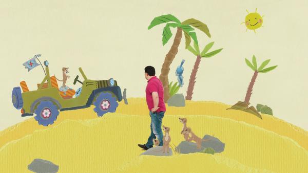 Wüstenfahrt mit Wettrennen auf einem Palmenschlitten | Rechte: KiKA