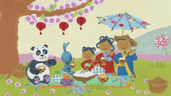 Kikaninchen fährt mit einem Heißluftballon und einem Panda zur Kirschblüte | Rechte: KiKA
