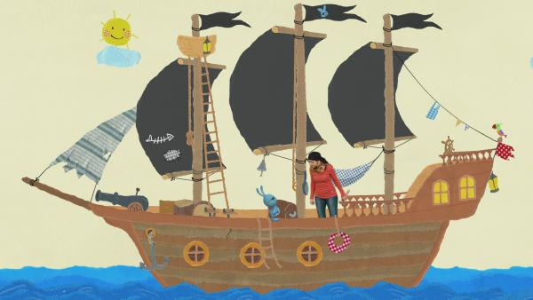 Anni und Kikaninchen bekommen als Piraten nasse Füße | Rechte: KiKA