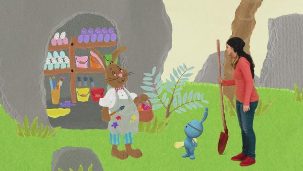 Anni und Kikaninchen treffen als Piraten den Osterhasen auf der Osterinsel | Rechte: KiKA