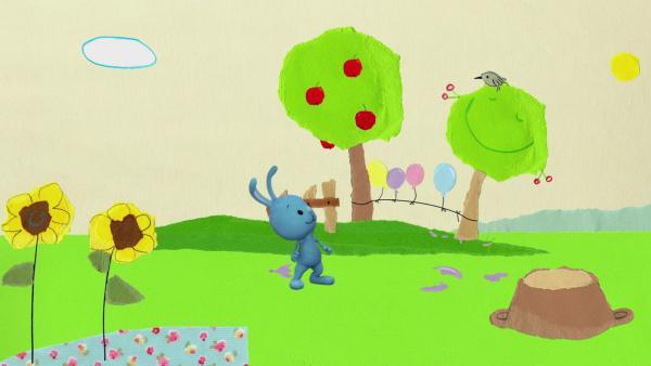 Kikaninchen lässt einen Luftballon platzen | Rechte: KiKA