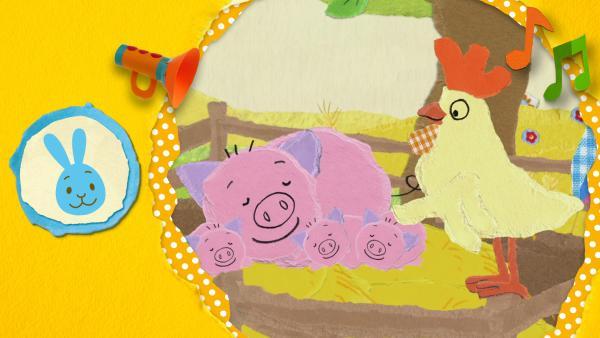 Anni, Christian und Kikaninchen singen auf dem Bauernhof und treffen viele Tiere | Rechte: KiKA