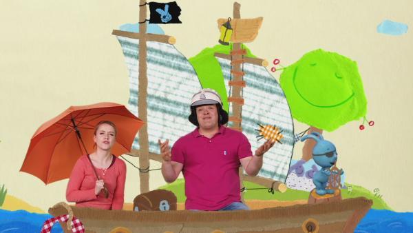 Kikaninchen, Anni und Christian segeln auf einem Piratenschiff | Rechte: KiKA