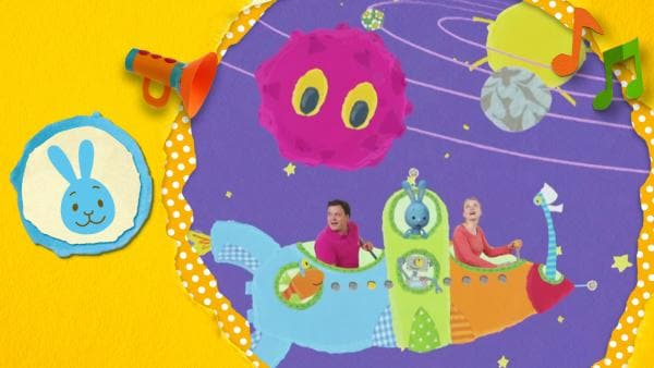 Kikanichen fliegt in einer Rakete mit Anni und Christian im Weltraum zu den Planeten | Rechte: KiKA