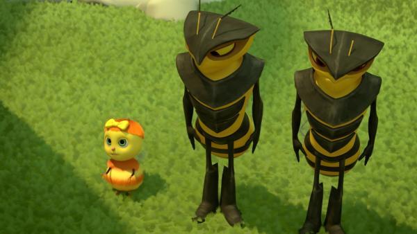 Die kleine Biene Enzian ist so fasziniert von der Disziplin und Stärke der Hornissen-Garde, dass sie einen Tag bei ihnen im Training mitmachen darf.   Rechte: ZDF/2019 METHOD ANIMATION/BIDIBUL PRODUCTIONS/ZDF ENTERPRISES