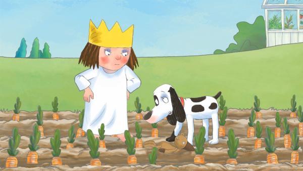 Schlamper ist in letzter Zeit sehr unartig, und die kleine Prinzessin beschließt, ihren Hund besser zu erziehen.   Rechte: ZDF/Illuminated Film Company