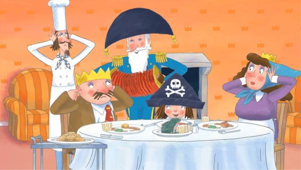 Damit er sich nicht unnütz vorkommt, verschafft ihm die Prinzessin neue Aufgaben an Land. Dabei kann er jedoch seine Seemannsnatur nicht verleugnen und niemand ist zufrieden mit dem, was herauskommt.   Rechte: ZDF/Illuminated Film Company