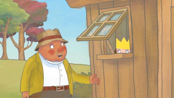 Die kleine Prinzessin im Schuppen bekommt vom Gärtner Tipps zur Vogelbeobachtung. | Rechte: ZDF/Illuminated Film Company