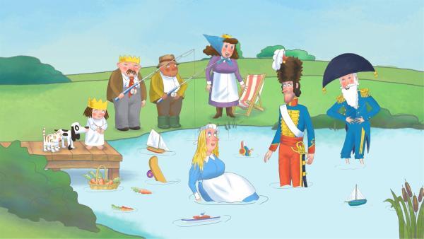 Das Kindermädchen ist im Teich gelandet. | Rechte: ZDF/Illuminated Film Company