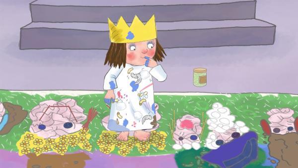 Ihr riesiges Bild für die Schlossfeier hat die Prinzessin mit ganz unterschiedlichen Materialien beklebt. | Rechte: ZDF/The Illuminated Film Company