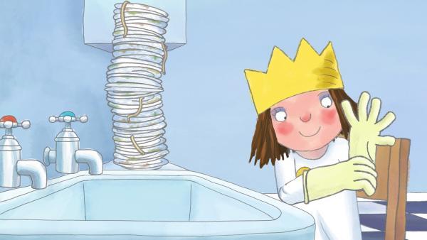 Um sich das Puppenhaus für Gisbert zu verdienen, will die Prinzessin in der Küche die dreckigen Teller abwaschen. | Rechte: ZDF/The Illuminated Film Company