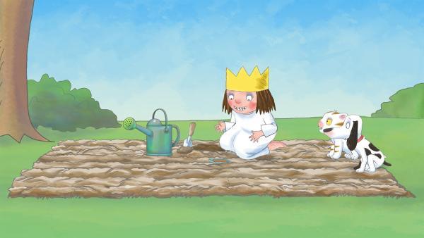 Die Prinzessin will Bohnen einpflanzen in der Hoffnung, dass daraus eine Riesenranke wächst. | Rechte: ZDF/The Illuminated Film Company