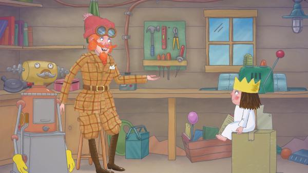 Die Prinzessin beratschlagt mit dem Professor, was sie denn wohl erfinden könnte. | Rechte: ZDF/The Illuminated Film Company