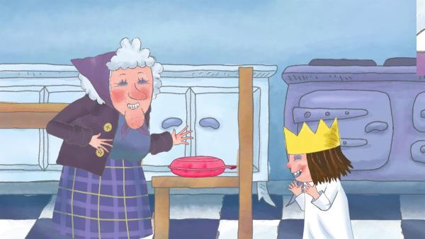 Die Großtante und die Prinzessin freuen sich schon darauf, wie sie mit dem Pupskissen den Koch foppen werden. | Rechte: ZDF/The Illuminated Film Company