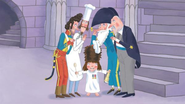 Die kleine Prinzessin (Mi.) kann sich nicht entscheiden, was sie einmal werden will. Sie erkundigt sich bei ihren Freunden - dem General, Koch, Admiral und Premierministerallen Freunden, was sie zu tun haben, was sie können müssen und worin sie gut sind. | Rechte: ZDF/Illuminated Film Ltd.