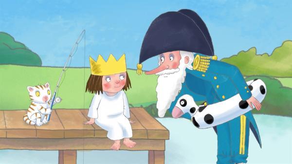 Die kleine Prinzessin (li.) kann sich nicht entscheiden, was sie werden will. Und so befragt sie jeden ihrer Freunde, so auch den Admiral. | Rechte: ZDF/Illuminated Film Ltd.