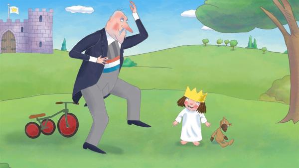 Alle im Schloss pfeifen bei der Arbeit oder vor Vergnügen, nur die kleine Prinzessin kann nicht pfeifen. | Rechte: ZDF/Illuminated Film Ltd.