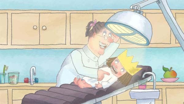 Die kleine Prinzessin will sich bei einer Zahnärztin vergewissern, ob mit ihren Zähnen alles in Ordnung ist. | Rechte: ZDF/Illuminated Film Ltd.