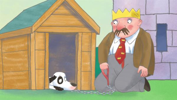 Der König bestraft Schlamper und sperrt ihn in die Hundehütte, obwohl er überhaupt nichts getan hat. | Rechte: ZDF/Illuminated Film Ltd.