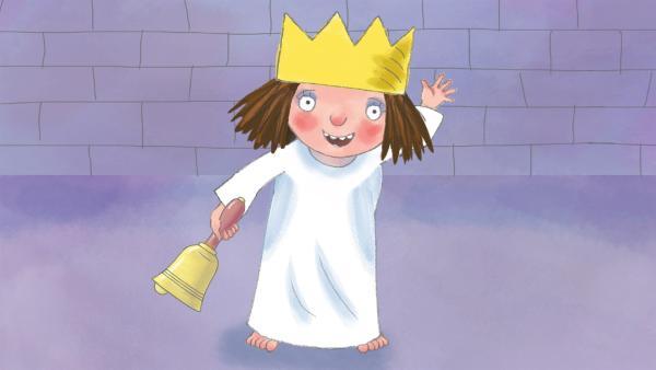 Die Kleine Prinzessin hat zwar eine Glocke, mit der sie die Erwachsenen herbeiruft, aber die Glocke kann nicht zu einem bestimmten Spiel auffordern. | Rechte: ZDF/Illuminated Film Ltd.