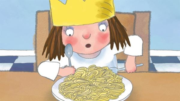 Die kleine Prinzessin kann Würmer nicht leiden. Beim Essen entdeckt sie, dass Spaghetti auch so aussehen wie Würmer und hat keine Lust weiter zu essen. | Rechte: ZDF/Illuminated Film Ltd.