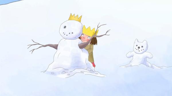 Die kleinen Prinzessin freut sich über den Schnee und ihren Schlitten. | Rechte: ZDF/Illuminated Film Ltd.