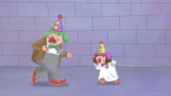 Der König und die kleine Prinzessin haben sich als Clowns verkleidet. | Rechte: ZDF/illuminated